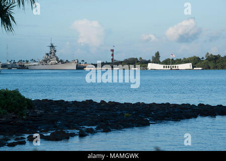 Oahu, Hawaii Feb 1, 2018: Pearl Harbor with USS Arizona Memorial and USS Missouri Big Mo battleship floating in Oahu, Hawaii from World War II - Stock Photo