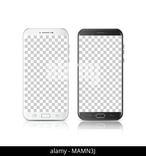 Modern realistic black and white smartphone. Smartphone with isolated on transparent background. 3d Vector illustration of cell phone. - Stock Photo
