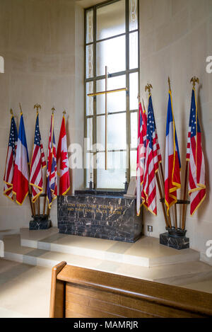 Flags of the Allied Countries inside the chapel at the Garden of the Missing, Normandy American Cemetary near Colleville-sur-Mer, Normandy, France - Stock Photo
