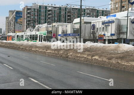 Snow covered streets during winter in Sarajevo - Stock Photo