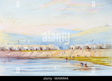 Title: Arikara Village, (plate 80) from Illustrations of the manners, customs, and condition of the North American Indians. [1866 ed.]  . 1866. Catlin, George, 1796-1872 - Stock Photo