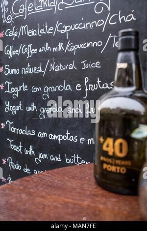 Menu in a Oporto restaurant Portugal Europe - Stock Photo