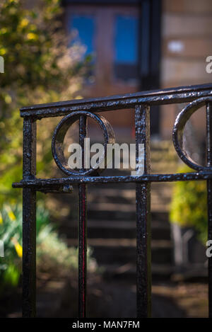 Wrought Iron Front Gate at a Home in Glasgow, Scotland - Stock Photo