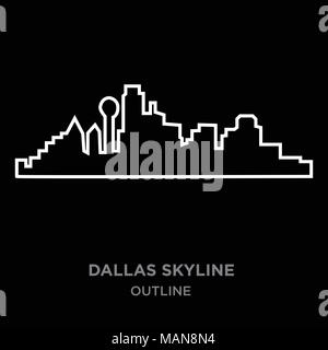 dallas texas skyline detailed vector silhouette stock vector art