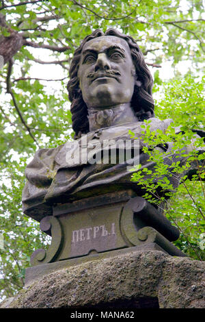 KARLOVY VARY, CZECH REPUBLIC - JUL 6, 2017: tcar Peter the Great monument in spa town Karlovy Vary, West Bohemia, Czech republic. Famous historical sp - Stock Photo
