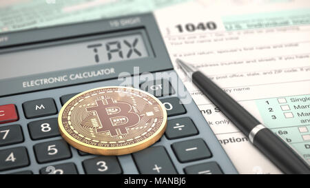 close-up view of a bitcoin coin, an electronic calculator and a tax form (3d render) - Stock Photo