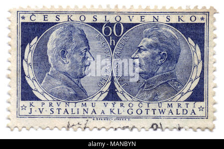 Joseph V. Stalin and Klement Gottwald (Cz. president) for 1st anniversary of death in 1954, stamp printed in Prague, Czechoslovakia (Czech Republic) - Stock Photo