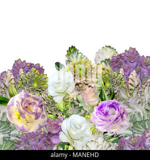 Floral border with bouquet of purple with white Eustoma (Lisianthus) flowers and ornamental cabbage - Brassica, or flowering kale isolated on a white  - Stock Photo