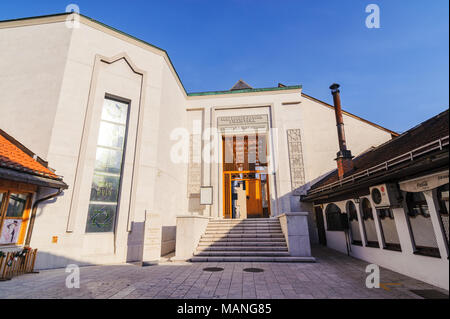 SARAJEVO, BOSNIA - JAN 26, 2018: Entrance of Gazi Husrev Begova Biblioteka, a historical library museum. The district have many Turkish old style houses commercial shops and cultural buildings - Stock Photo