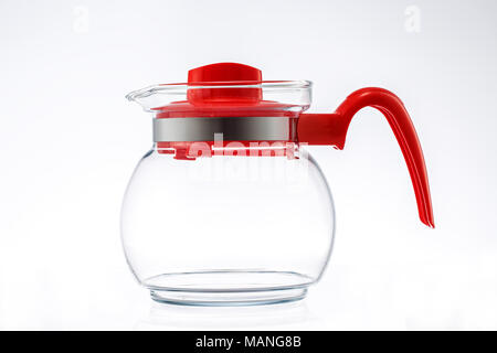 New glass kettle or jug isolated on white background - Stock Photo