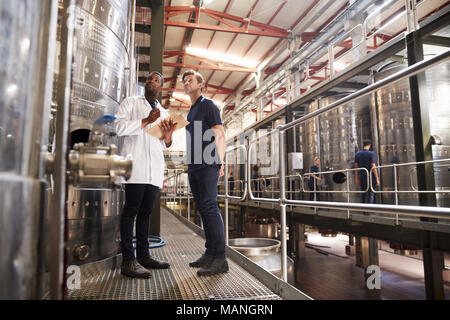 Two male technicians working at a wine factory, low angle - Stock Photo