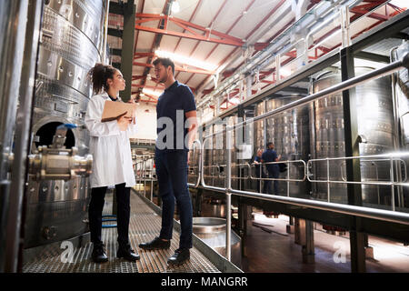 A male and a female technician talking at a wine factory - Stock Photo