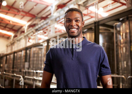 Portrait of a young black man working at a wine factory - Stock Photo