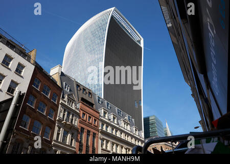 LONDON - MAY, 2017: The Walkie Talkie building, 20 Fenchurch Street, looming over a Victorian terrace, City Of London, London - Stock Photo