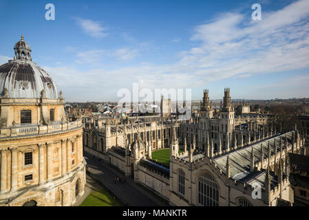 Oxford. England. View of Radcliffe Camera, Radcliffe Square with All Souls College.  Designed by James Gibbs, built 1737–49 to house the Radcliffe Sci - Stock Photo