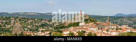 City of Le Puy-en-Velay, Haute-Loire department, Auvergne-Rhone-Alpes, France, - Stock Photo