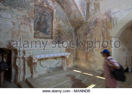 Rupestrian paintings in the church of Santa Maria di Idris, matera - Stock Photo
