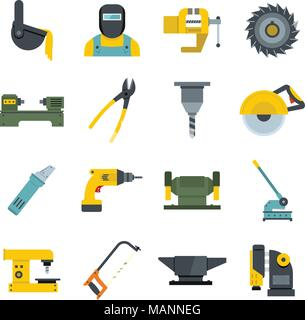 Metal working icons set vector flat - Stock Photo