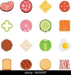 Slice food ingredient icons set vector flat - Stock Photo