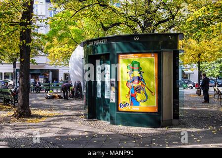 Berlin, Charlottenburg. Public toilets on George Grosz Square In Ku'damm main shopping street - Stock Photo