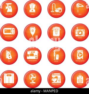 Domestic appliances icons set red vector - Stock Photo
