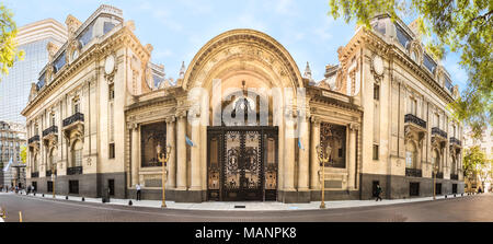 Buenos Aires, Argentina - March 21th, 2018: Panoramic view of the Palacio San Martin, located facing Plaza San Martín in the Retiro neighborhood of B - Stock Photo