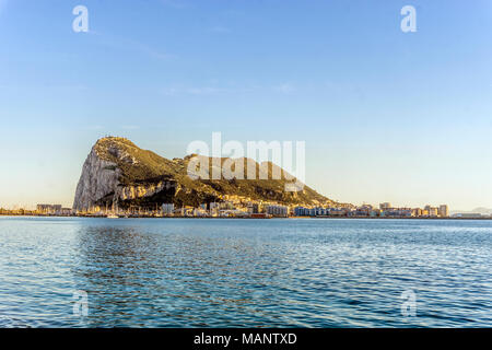 Gibraltar Rock viewed from Andalusia, British overseas territory - Stock Photo