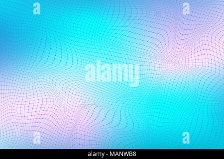 Abstract digital landscape with particles dots and lines. Big Data visualization. Wireframe landscape background. Futuristic vector illustration. Sci-Fi background. - Stock Photo
