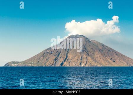 The volcano stromboli belongs to the archipelago of the aeolian islands. - Stock Photo