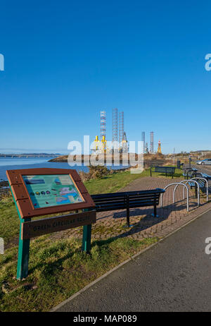 The Information sign at Grassy Beach on the Green Circular Walking and Cycling Route around Dundee and Broughty Ferry. - Stock Photo