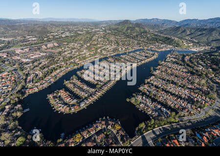 Aerial view of Westlake Island in the Thousand Oaks and Westlake Village communities in Southern California. - Stock Photo