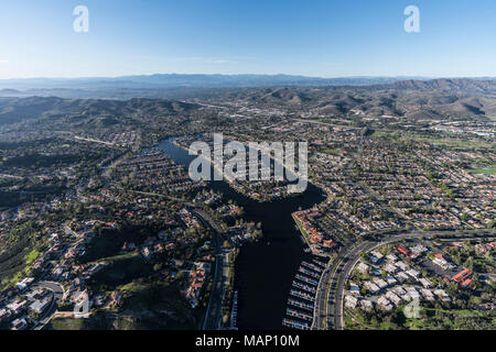 Aerial view of Westlake island, marina and lake in the Thousand Oaks and Westlake Village communities of Southern California. - Stock Photo