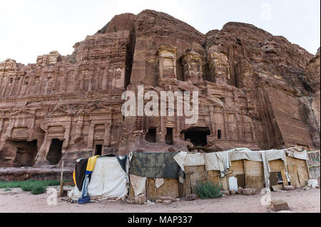 General view of the Royal Tombs in Petra, Jordan, The Urn Tombs. - Stock Photo