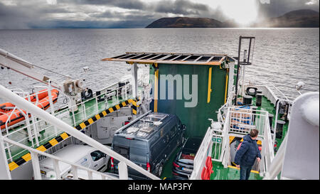 The Caledonian MacBrayne ferry which travels from Claonaig on The Kintyre peninsula of Scotland to Lochranza on the Isle of Arran. - Stock Photo
