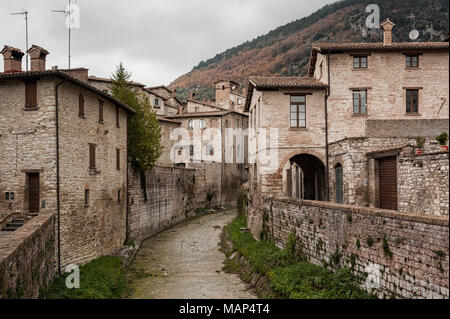 Gubbio, one of the most beautiful medieval towns in Europe, in the heart of the Umbria Region, Perugia Province central Italy - Stock Photo