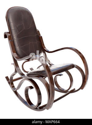 An old rocking chair isolated on white - Stock Photo