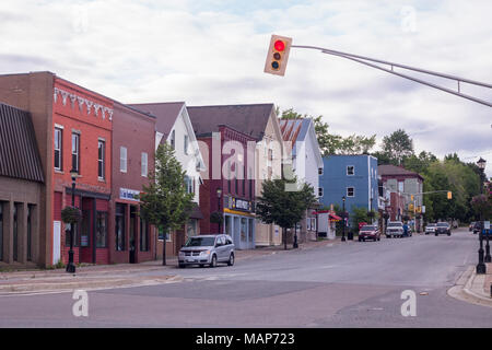 View looking north along King Street, St. Stephen, New Brunswick, Canada in summer of 2015 - Stock Photo