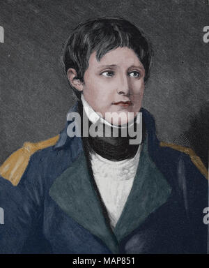 Napoleon Bonaparte (1769-1821). French statesman and military leader. Portrait. Engraving, 19th century. - Stock Photo