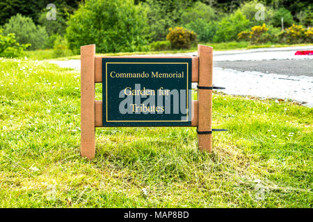SPEAN BRIDGE / SCOTLAND - MAY 31 2017:: Sign welcoming to the Garden for Tributes. - Stock Photo