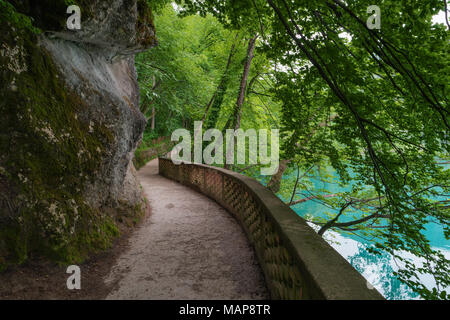 Hiking trail in forest, Lake Bled, Alps, Slovenia. Pathway lane way, green trees. Beautiful road, alley in park. Path in summer forest. Empty walkway. - Stock Photo