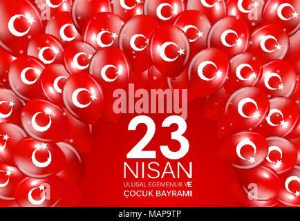 23 nisan cocuk baryrami. Translation: Turkish April 23 Childrens Day Vector Illustration - Stock Photo