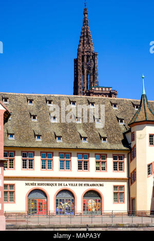 La Grande Boucherie building 16th century, historical museum, cathedral spire, Strasbourg, Alsace, France, Europe, - Stock Photo