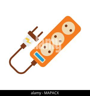 Extension cord Icon. Energy label for Web on white background. Flat Vector Illustration. - Stock Photo