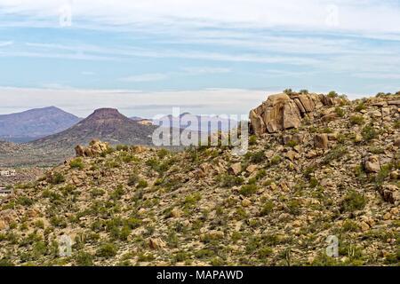 Barren rocky desert landscape from hiking trails in Arizona - Stock Photo