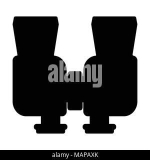Binoculars isolated on white background. Vision military instrument. Discovery equipment optical zoom. Vector illustration. - Stock Photo
