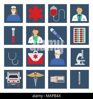 Set of Medical object flat icon. Vector Illustration - Stock Photo