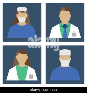Doctors Set. Medical object flat icon. Vector Illustration - Stock Photo