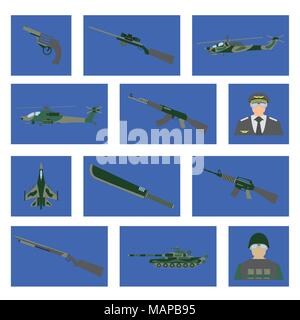 Set of 12 military icon. Fighter aircraft, tank, helicopter, weapon, soldier, pilot. Vector illustration. - Stock Photo