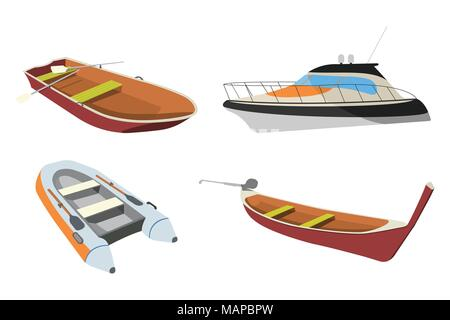 Set of Boat: Speedboat, Pirogue, Raft and Boat icon. Cartoon Vector Illustration. - Stock Photo