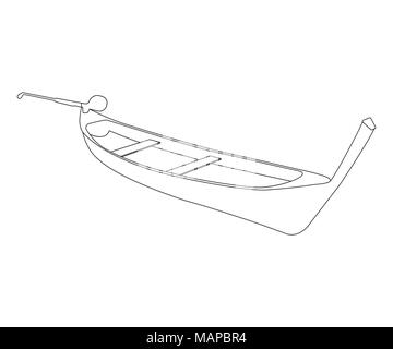 Pirogue flat icon and sign. Outline Vector Illustration. - Stock Photo